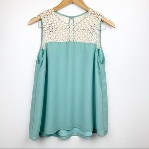 GREYLIN Lace and Teal Combo Tank Top S